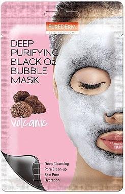 Кислородная маска для лица PUREDERM Deep Purifying Black O2 Bubble Mask Volcanic