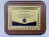 Наградная плакетка с металлической рамкой (гальваника), ДЕРЕВО  (22х27см), фото 1