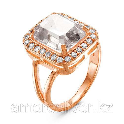 Кольцо Красная пресня серебро с позолотой, фианит, квадрат 2388361
