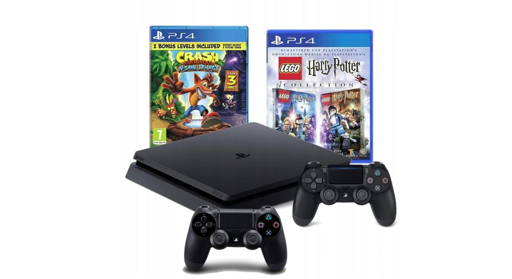 Консоль PS4 SLIM 1 ТБ + 2 ПАДКА + LEGO HARRY POTTER + CRASH 2.0