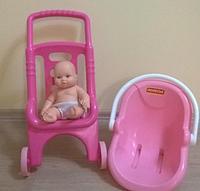 Тележка Pink Line 3 в 1 Полесье (коляска для кукол, люлька-переноска, ванночка)