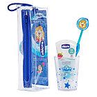 Chicco: Набор по уходу за полостью рта: зубная щетка, зубная паста, стаканчик. 3г+ для мальчика