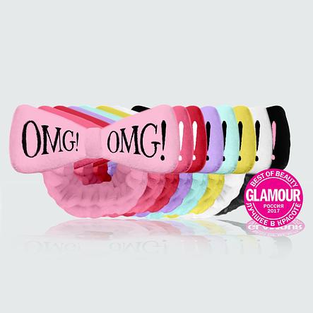 Розовый Бант-повязка для фиксации волос во время косметических процедур Double Dare OMG! HAIR BAND (ОРИГИНАЛ), фото 2