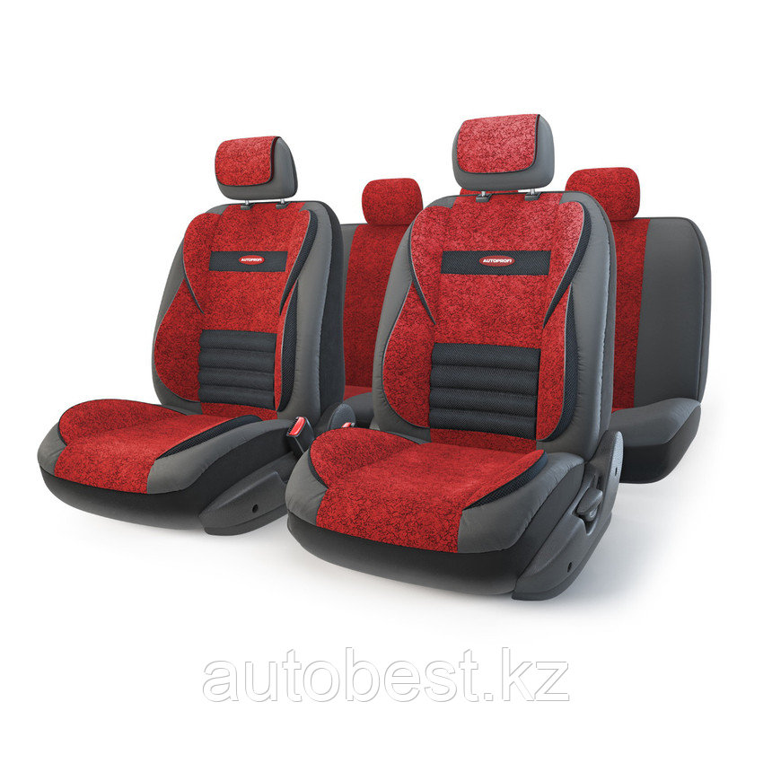 Чехлы на сиденья Модельные MULTI COMFORT красный,велюр экокожа,ортопедическая поддержка (