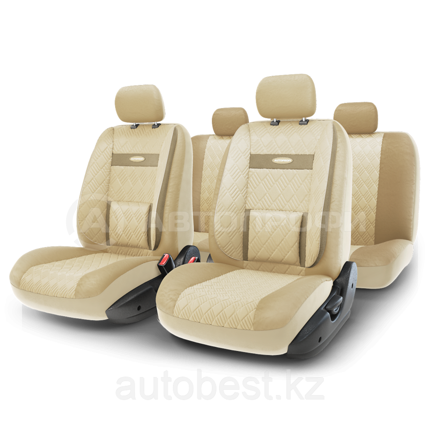 Чехлы на сиденья Comfort COM комбинированные с экокожей. Бежевые чехлы Автопрофи