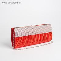 Клатч женский, отдел на фермуаре, длинная цепь, цвет красный