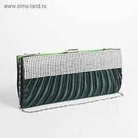 Клатч женский, отдел на фермуаре, длинная цепь, цвет зелёный