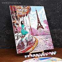 Картина по номерам на холсте с подрамником «Девушка в Париже» 40×50 см