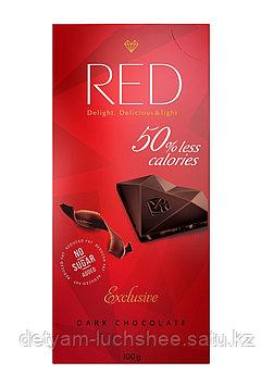 Шоколад RED Delight темный со сниженной калорийностью, без сахара, 100 гр