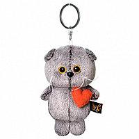 """Мягкая игрушка-брелок """"Кот Басик"""" с сердечком, 12 см"""