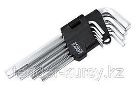 FK-5093 Forcekraft Набор ключей Г-образных 6-гранных CR-V, 9 предметов (1.5,2,2.5,3-6,8,10мм), на пластиковом