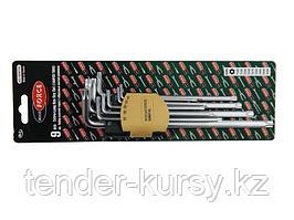 RF-5098TXL ROCKFORCE Набор ключей Г-образных TORX экстра длинных, 9 предметов (Т10Н, Т15Н, Т20Н, Т25Н,Т27Н,