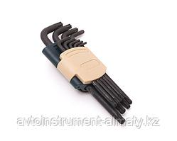 RF-5098LB ROCKFORCE Набор ключей TORX Г-образных длинных с шаром, 9 предметов (Т10, Т15, Т20, Т25, Т27, Т30,