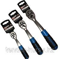 """F-80723 Forsage Трещотка реверсивная с резиновой ручкой  3/8"""" (72зуб., L-200мм)на пластиковом держателе"""