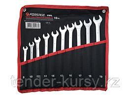 F-5101L Forsage Набор ключей комбинированных удлиненных 10 предметов (8, 10, 12-19мм)на полотне Forsage