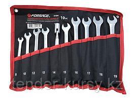 F-5104 Forsage Набор ключей рожково-торцевых шарнирных 10 предметов (8, 10, 12-19мм) на полотне Forsage F-5104