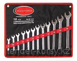 RF-5121 ROCKFORCE Набор ключей комбинированных 12 предметов на полотне (8, 10-17, 19, 22, 24мм) ROCKFORCE