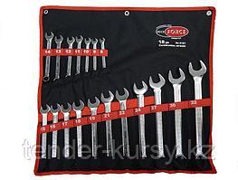 RF-5181 ROCKFORCE Набор ключей комбинированных 18 предметов(8-19, 21, 22, 24, 27, 30, 32мм),на полотне