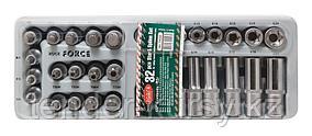 RF-T4322 ROCKFORCE Набор головок Е-профиль и бит-насадок TORX (Е10-Е24, M5-M6,T50-Т70, T50H-T40H) 32 предметав