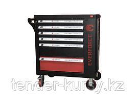 YD-1048-03 Everforce Тележка инструментальная  6-полочная с набором инструментов 154 предмета(черно-красная)и