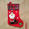 """Новогодние носки для подарков """"Дед мороз на лыжах"""", 35*27 см."""