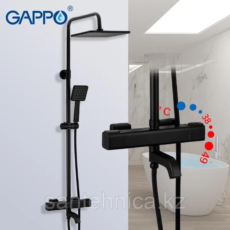 Gappo G2491-6 Душевая стойка с термостатом черная