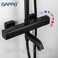 Gappo G2491-6 Душевая стойка с термостатом черная, фото 2