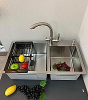 Кухонная мойка ZEUS 78х43 Сатин две чаши, фото 1