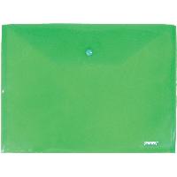 Папка-конверт Proff А4 с кнопкой прозрачная зеленая 0,18 мм