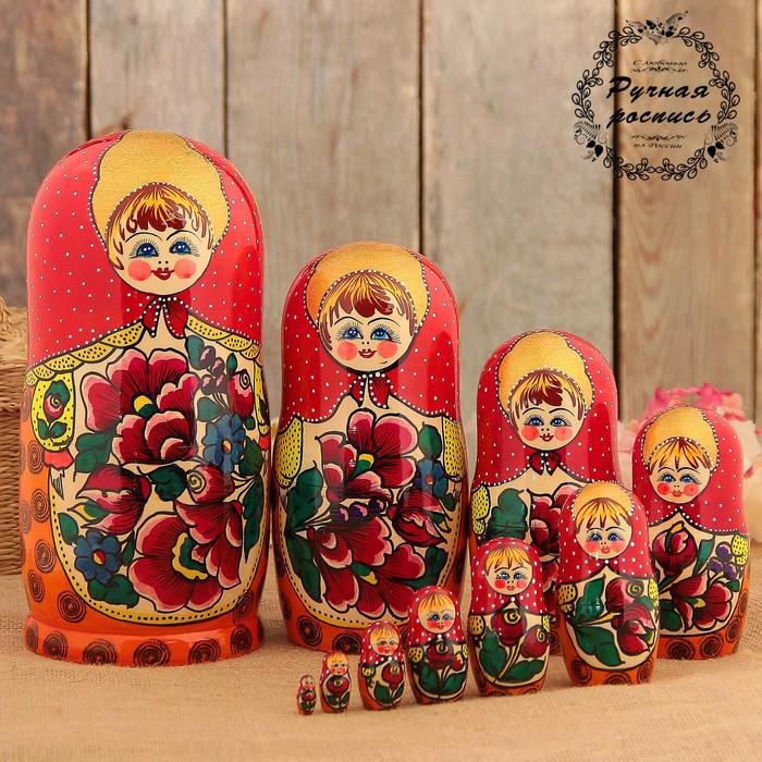 Матрёшка «Майдановская», маки, красный платок, 10 кукольная, 25 см