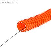 Труба ПНД DKC 71940, гофро, c протяжкой, d=40, оранжевая, 20 м