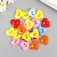 Набор пуговиц декоративные 'Сердечки цветные' 24 шт