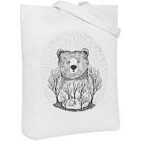 Холщовая сумка Bear, молочно-белая, фото 1