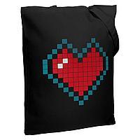 Холщовая сумка Pixel Heart, черная, фото 1