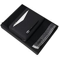 Набор Cosmo: папка с блокнотом А5, ручка и шарф, черный