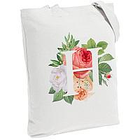 Холщовая сумка «Цветочная азбука: Н», молочно-белая, фото 1