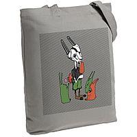 Холщовая сумка «Зайцы и морковное мороженое», серая, фото 1