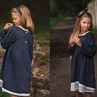 Льняное темно-синее платье для девочек с кружевом