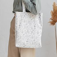 Сумка-шоппер из натурального льна белого цвета с принтом
