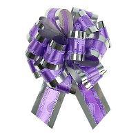 Бант-шар №3,2 серебро Воздушные сердца на фиолетовом 848863