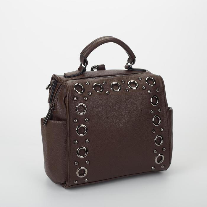Сумка жен L-867257, 23*10*21, отд на молнии, 3 н/кармана, коричневый