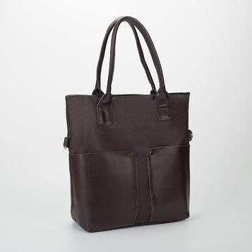 Сумка жен L-2025, 38*12*38, отд на молнии, 3/кармана, длин ремень,  коричневый