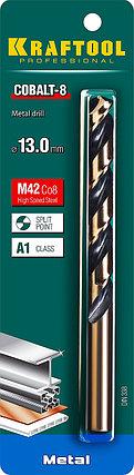 Сверло по металлу KRAFTOOL, Ø 13 мм, HSS-Co (8%), класс A, DIN 338 (29656-13), фото 2