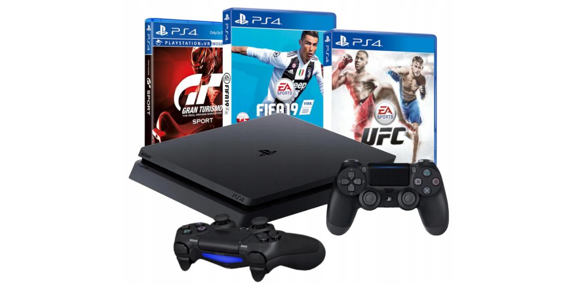 Консоль PS4 SLIM 1 ТБ + 2 PAD + FIFA 19 + GRAN TURISMO SPORT + UFC
