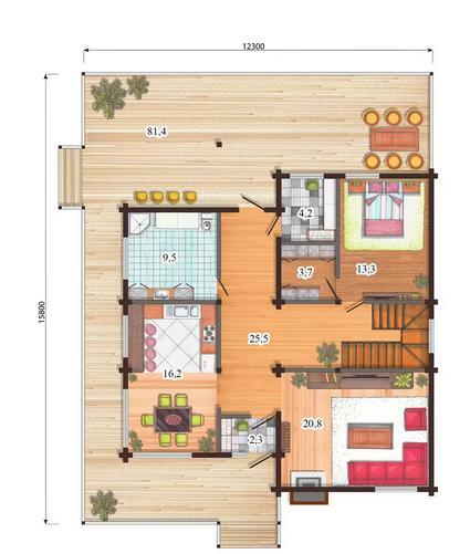 проект двухэтажный финский дом из профилированного бруса, план двухэтажного дома и строительство под ключ, проектирование и строительство деревянных домов.