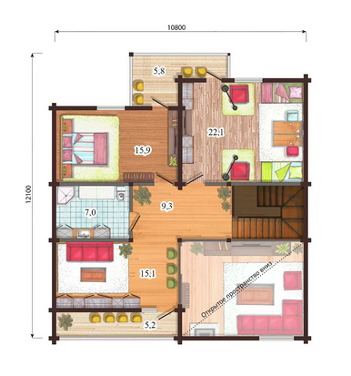 проект двухэтажный финский дом из бруса, план двухэтажного дома и строительство под ключ, проектирование и строительство деревянных домов.