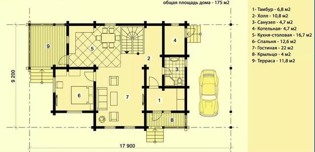 Проект двухэтажного дома из профилированного бруса с крытым местом для автомобиля, план двухэтажного дома и строительство под ключ, проектирование и строительство деревянных домов.