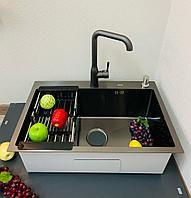 Кухонная мойка ZEUS 68х45 Нано Сатин Черный
