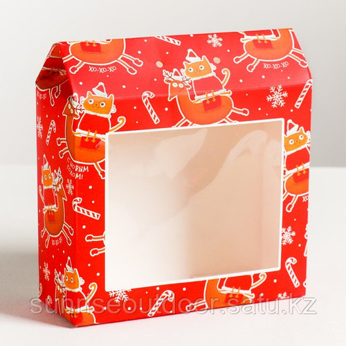 Складная коробка «Спешу к тебе с подарками», 15 × 17 × 6 см, вместимость - 700 гр.