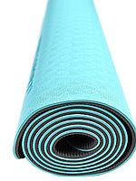 Коврик для йоги и фитнеса TPE 183*61*0.6 см, 2-слойный, бирюзовый